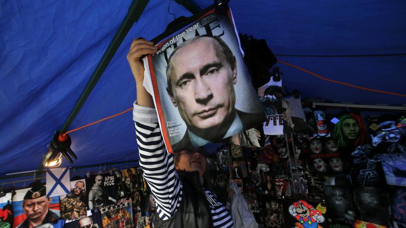 Putins Konterfei auf einem T-Shirt