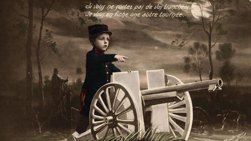 """Ian Kershaw: """"Wenn ihr nicht aus den Schützengräben kommt, verpasse ich euch noch eine Runde"""": ein Junge mit Kanone auf einer französischen Postkarte von 1914"""