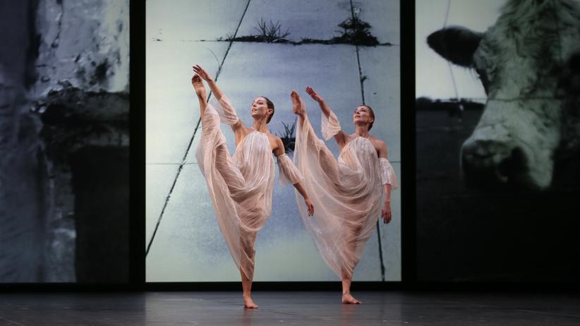Postmoderner Tanz: Tänzerinnen bei einem von Trisha Brown choreographierten Auftritt
