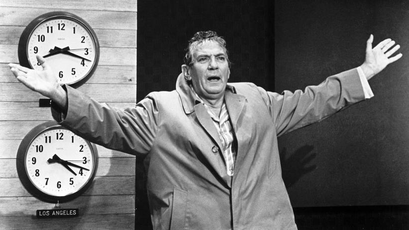 """Donald Trump: Entfesselter TV-Moderator: Peter Finch in Sidney Lumets Film """"Network"""" von 1976."""