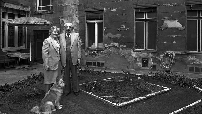 Hufelandstraße: Oskar und Irma Fleischer in ihren Verlobungsanzügen mit Hund Putzi, 1986