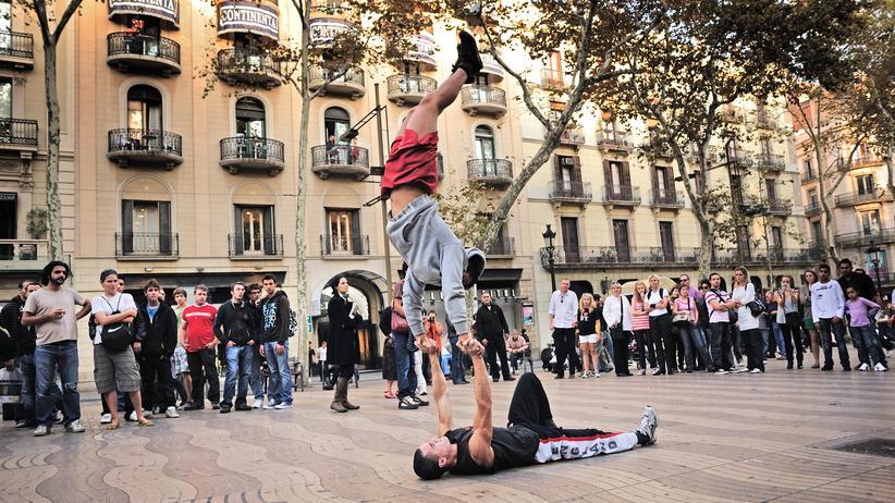 Terroranschlag in Barcelona: Straßenkünstler auf der Rambla in Barcelona (Archivbild)