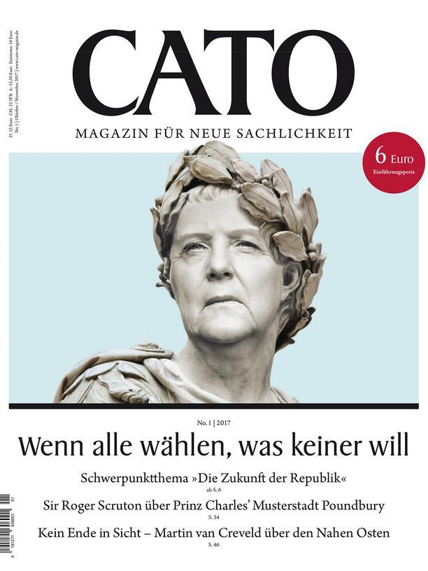 """Cato: Angela Merkel mit Lorbeerkranz: das Cover des Magazins """"Cato"""""""