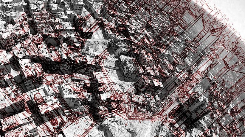 Syrien: Dieses Bild zeigt einen Entwurf des Architekten Rami Bakhos, wie es einmal aussehen könnte, wenn man das zerstörte Homs neu aufbaute.
