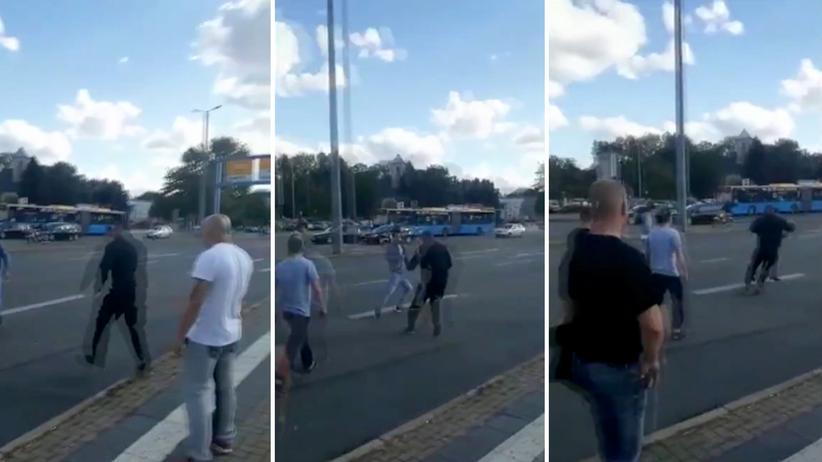 Framing: Ausschnitte aus dem durch den Twitter-Account Antifa Zeckenbiss verbreiteten Video, das eine Straßenszene in Chemnitz zeigt.