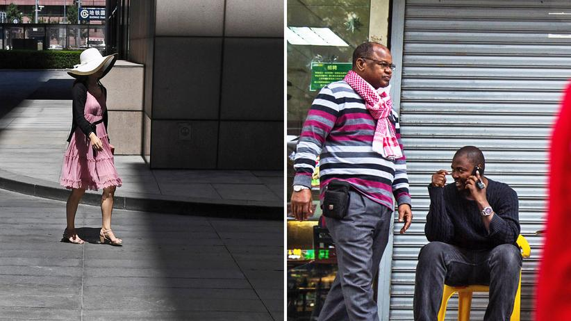 Fremdenfeindlichkeit: Die chinesische Gesellschaft wehrt sich gegen die Fremden: Little Africa (rechts) heißt dieses Viertel in Guangzhou, laut UNHCR halten sich in China derzeit aber beispielsweise lediglich rund 100 Geflüchtete aus Somalia auf.