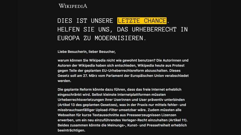 EU-Urheberrechtsreform: Einen Tag lang sind Einträge in der deutschsprachigen Wikipedia nicht einsehbar. Die Onlineenzyklopädie protestiert damit gegen die geplante EU-Urheberrechtsreform.