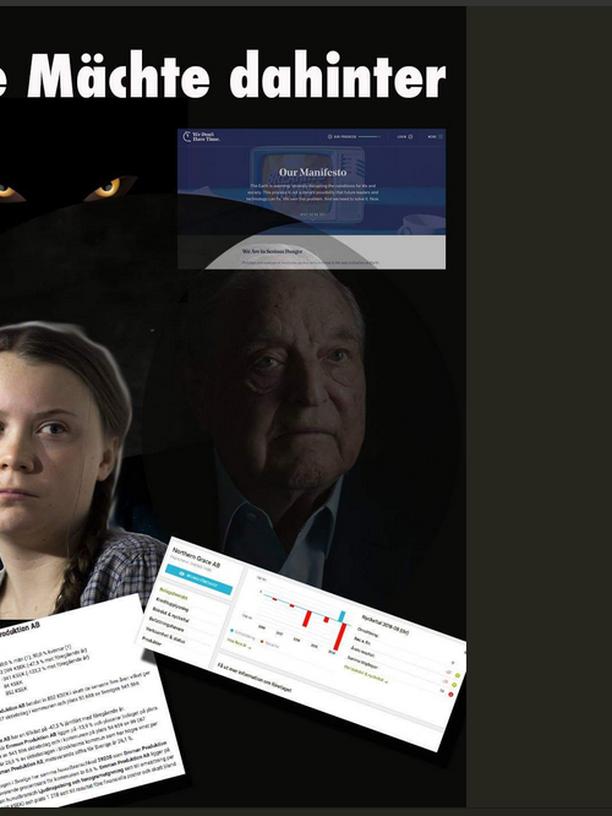 George Soros als dunkle Macht hinter Greta Thunberg in einem Tweet