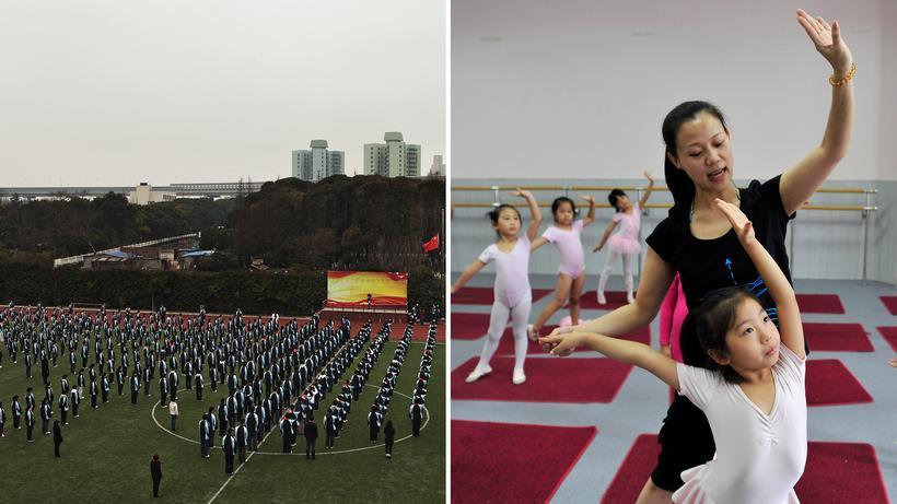 Bildung in China: Der Staat fordert, die Eltern fördern: Fahnenappell an einer Schule in Shanghai (links) und eine Tanzklasse in Shenyang, die schon Fünf- und Sechsjährige an Wochenenden besuchen (rechts)