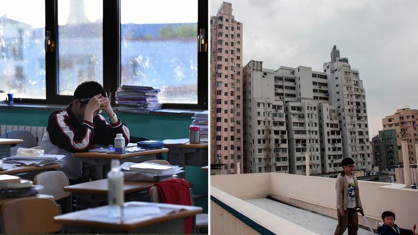 Bildung in China: Auch abends nach der Schule geht das Büffeln für den Gaokao weiter (links). Eine wesentliche Frage für Eltern in Großstädten wie hier in Hongkong ist, wie gut die Schulen im Viertel sind – und ob man notfalls umziehen muss, um dem Kind beste Startbedingungen bieten zu können (rechts).