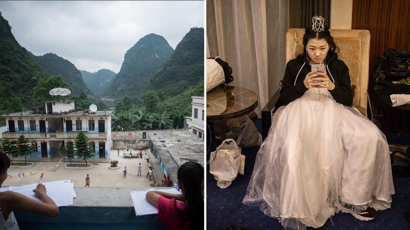 Bildung in China: Schüler auf dem Land beim Hausaufgabenmachen (links) und eine Pekinger Schülerin (rechts), die auf die Mitteilung wartet, ob sie beim Wiener Opernball debütieren darf – dem in der chinesischen Hauptstadt allerdings.