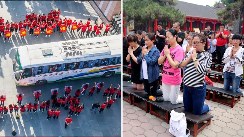 Bildung in China: Lehrer begrüßen Schüler zur diesjährigen Eingangsprüfung für die Universität, den Gaokao (links), der am 7. Juni stattfindet. Am selben Tag ein Jahr beteten Eltern in Shenyang darum, dass ihre Kinder bei dem Test gut abschnitten (rechts).