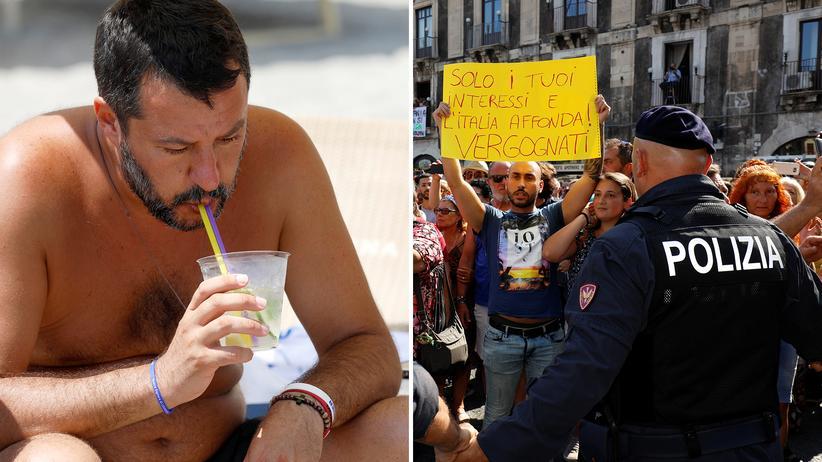 """Italienische Regierungskrise: Matteo Salvini am Strand als """"einer von uns"""". Nicht alle Italiener zählen sich dazu."""