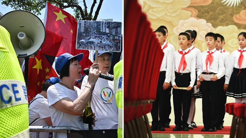 Chinesischer Nationalismus: Auch in Hongkong protestieren manche gegen die Demokratiebewegung, wie hier im April (links). Diese Schülerinnen und Schüler (rechts) werden für herausragende Leistungen ausgezeichnet.