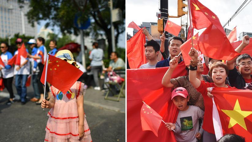 Chinesischer Nationalismus: Brav: Ein Mädchen hält bei der Feier des 70-jährigen Bestehens der Volksrepublik in Peking die Nationalflagge (links). Und im kanadischen Vancouver demonstrieren junge Auslandschinesen für das Auslieferungsgesetz (rechts), während gegen dessen Einführung in Hongkong protestiert wird.
