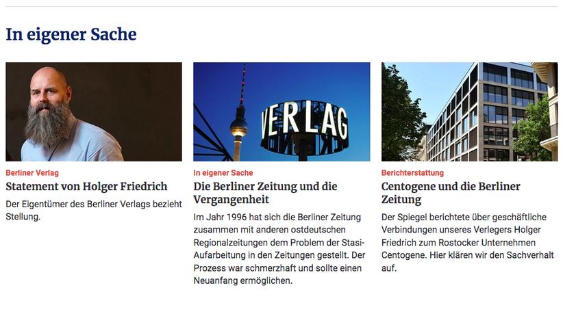 """Beschäftigt, die Baustellen im eigenen Haus aufzuklären: die """"Berliner Zeitung"""""""