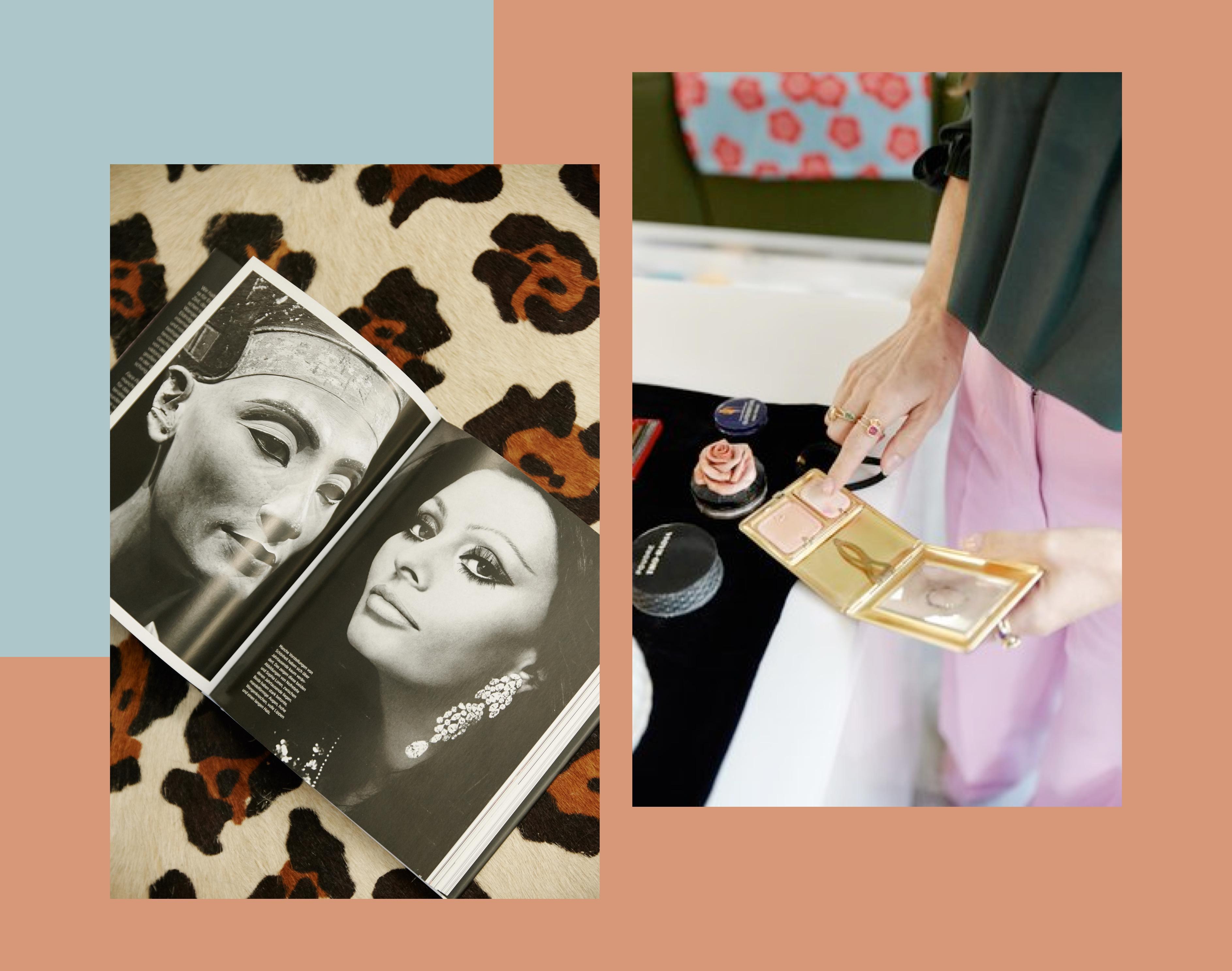 Lisa Eldridge: Manche Ideale sind unvergänglich: Nofretete und Sophia Loren in Eldridges Buch. Rechts zeigt sie eine Make-up-Schatulle für unterwegs aus den 1920ern.