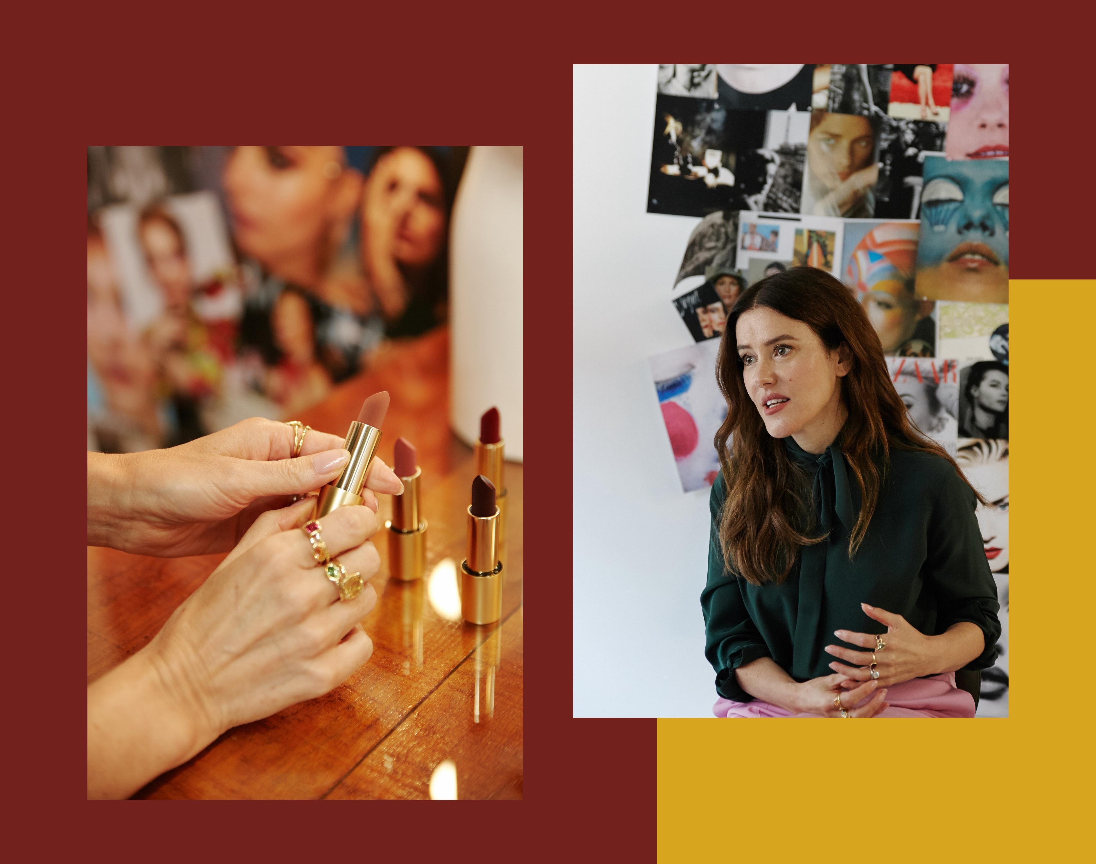 Lisa Eldridge: An ihren Fingern die vielen kleinen Edelsteinringe, die sie inzwischen selbst herstellen lässt. In ihren Händen die neuen Lippenstifte, deren Oberfläche matten Samt imitiert.