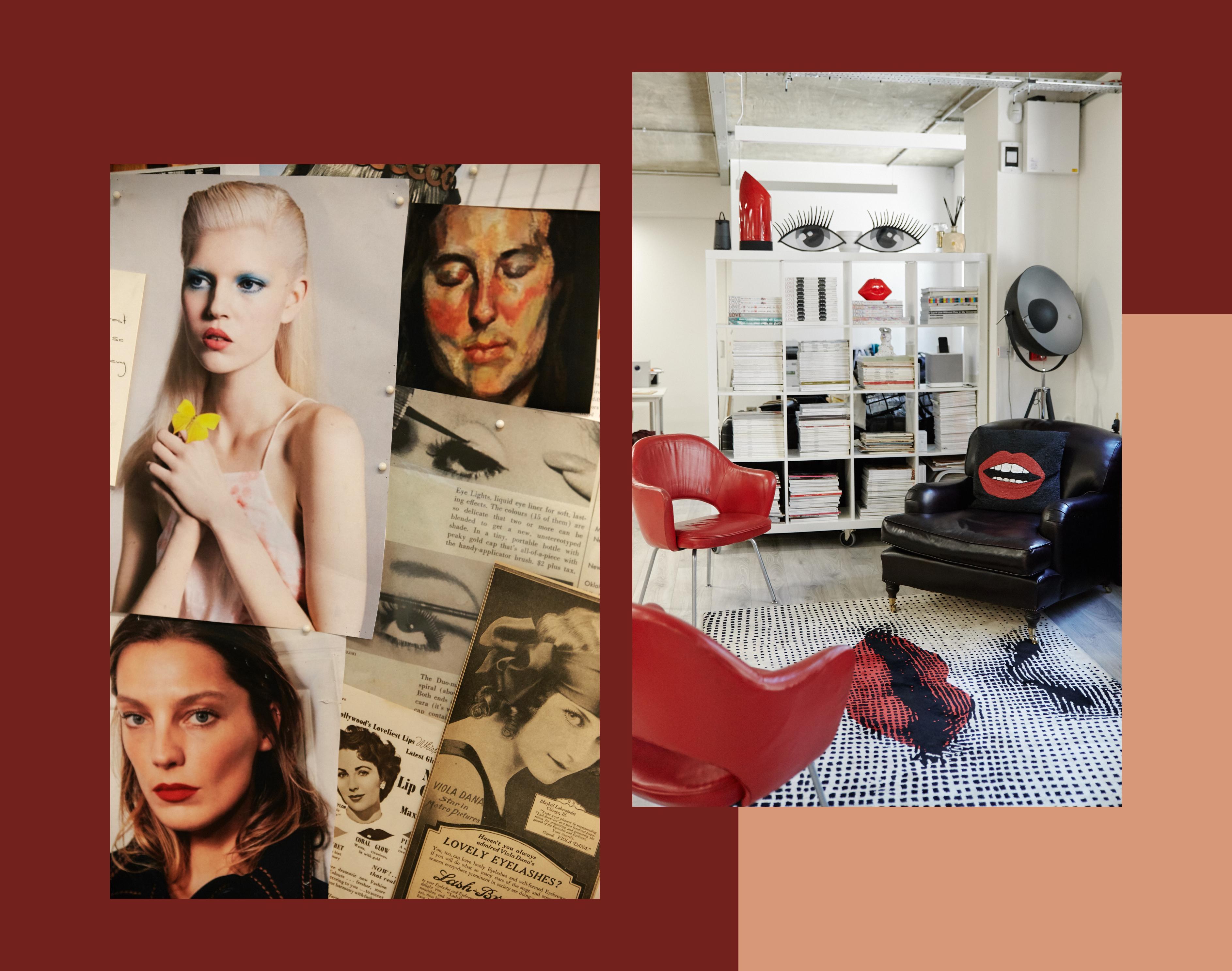 Lisa Eldridge: Gesichter malen, mit Ölfarbe wie mit Make-up. Rechts ein Blick in das neue Studio von Lisa Eldridge.