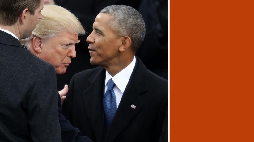 US-Politik: Die Amtseinführung Trumps am 20. Januar 2017: Barack Obama begrüßte seinen Nachfolger und dessen Sohn Eric (links). Begann die Polarisierung der USA an diesem Tag? Oder vorher? Oder ist Donald Trump die Ausnahme, etwas sui generis?