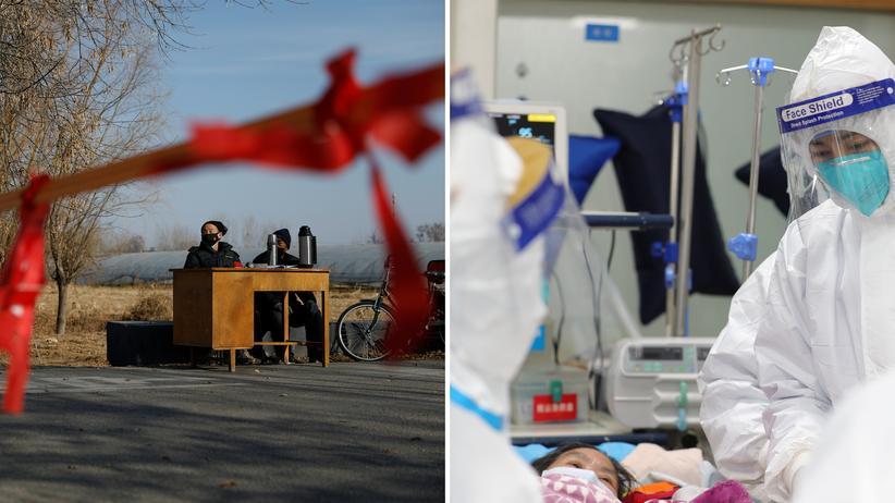 Coronavirus: Kontrolle und Krankheit in Zeiten des Coronavirus: Ein Posten in einem Außenbezirk Bejings soll absichern, dass keine Unbefugten hineinkommen (links); im Zentralkrankenhaus von Wuhan kümmert sich medizinisches Personal um eine Kranke (rechts) – das Foto hat das Krankenhaus am 25. Januar auf Weibo hochgeladen.