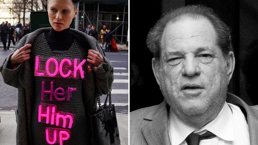 Harvey Weinstein: Demonstrantin vor dem Gerichtsgebäude in Manhattan, Angeklagter Weinstein: Nun beginnt der Strafprozess gegen den ehemaligen Produzenten in New York.
