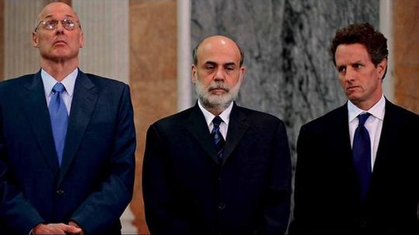 "Dokumentarfilm ""Inside Job"": Henry Paulson, Ben Bernanke und Timothy Geithner im Dokumentarfilm ""Inside Job"""