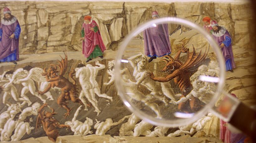 """""""Inferno"""": Genaues Hinschauen lohnt sich: ein Detail aus Botticellis """"Mappa dell´Inferno"""" in dem Dokumentarfilm """"Botticelli – Inferno"""""""