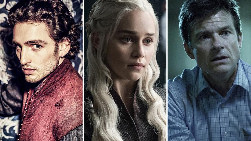 "Binge-Watching: Laurie Davidson als ""Will"" Shakespeare, Emilia Clarke als Daenerys Targaryen in ""Game of Thrones"" und Jason Bateman in ""Ozark"""