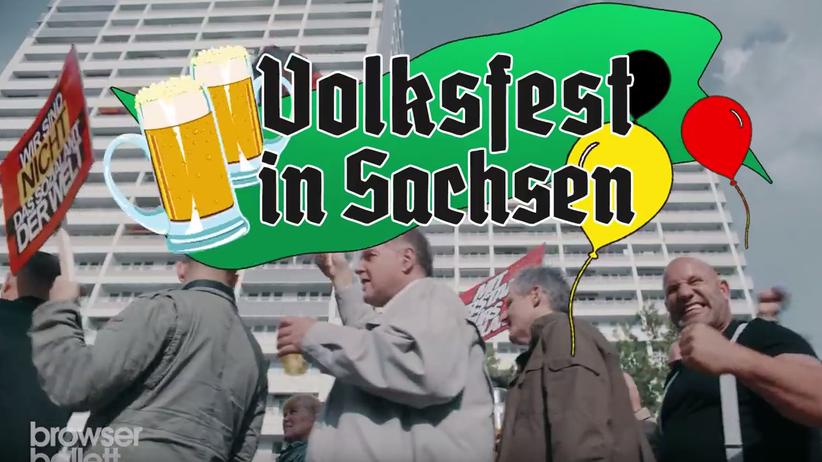 "Fall Schlecky Silberstein: Szene aus dem Video ""Volksfest in Sachsen"" von Schlecky Silberstein"