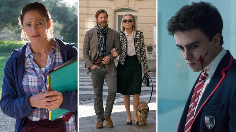 """Binge-Watching: Jennifer Garner in """"Camping"""", Aaron Eckhart und Marthe Keller in """"The Romanoffs"""" und Itzan Escamilla in """"Elite""""."""