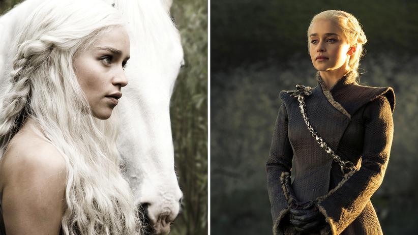 """""""Game of Thrones"""":  Die Menge an Bekleidung wurde bei """"Game of Thrones"""" zum Symbol für die Emanzipation der Frauenfiguren: Anfangs war Daenerys Targaryen (Emilia Clarke) noch latent unbekleidet (links), doch je länger die Serie dauerte, desto mehr Stoff bekamen ihre Kostüme. © HBO/Helen Sloan"""