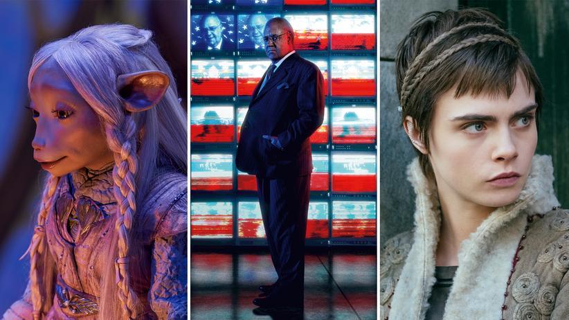 """Binge-Watching: Brea aus """"Der dunkle Kristall"""", Russell Crowe als Roger Ailes in """"The Loudest Voice"""" und Cara Delevingne als Vignette Stonemoss in """"Carnival Row"""" (von links)."""