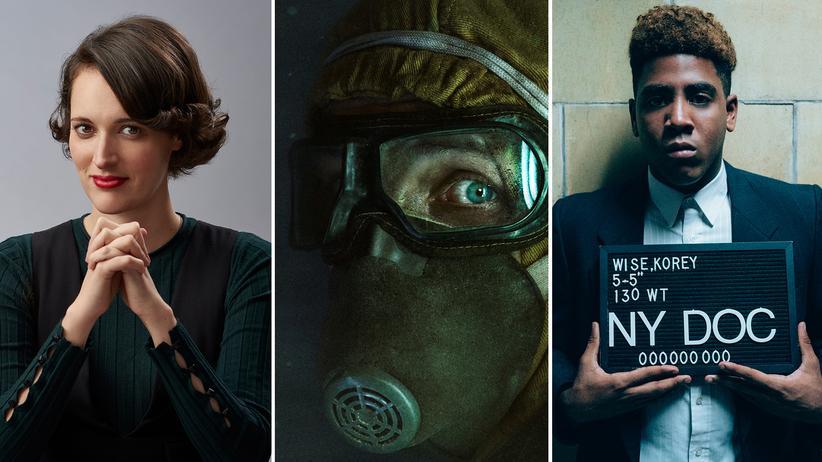 """Fernsehserien 2019: Phoebe Waller-Bridges in """"Fleabag"""", Szene aus """"Chernobyl"""" und Jharrel Jerome in """"When They See Us"""""""