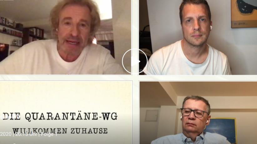"""""""Die Quarantäne-WG"""": Super, dass keiner der drei Herren eigentlich weiß, was er zum Thema beitragen soll: Thomas Gottschalk, Oliver Pocher und Günther Jauch (im Uhrzeigersinn)"""