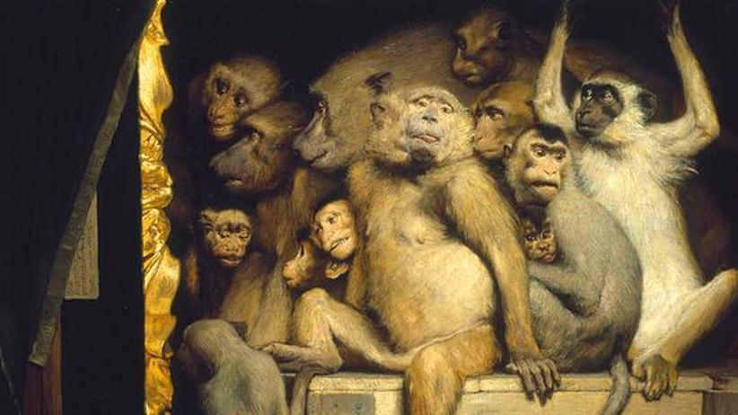 """Kunstkritik: Ein Bild mit Vorahnung: """"Affen als Kunstrichter"""", Gabriel von Max, 1889"""