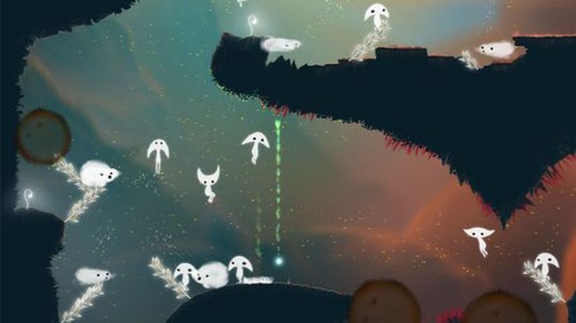 """App Art Award: Bei """"spirits"""" von Mattias Ljungström schlüpfen kleine weiße Gespenster durch hübsch designte Level."""
