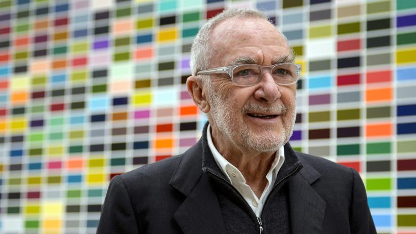 Gerhard Richter: Gerhard Richter im Jahr 2014 vor einem seiner Bilder in der Fondation Beyeler