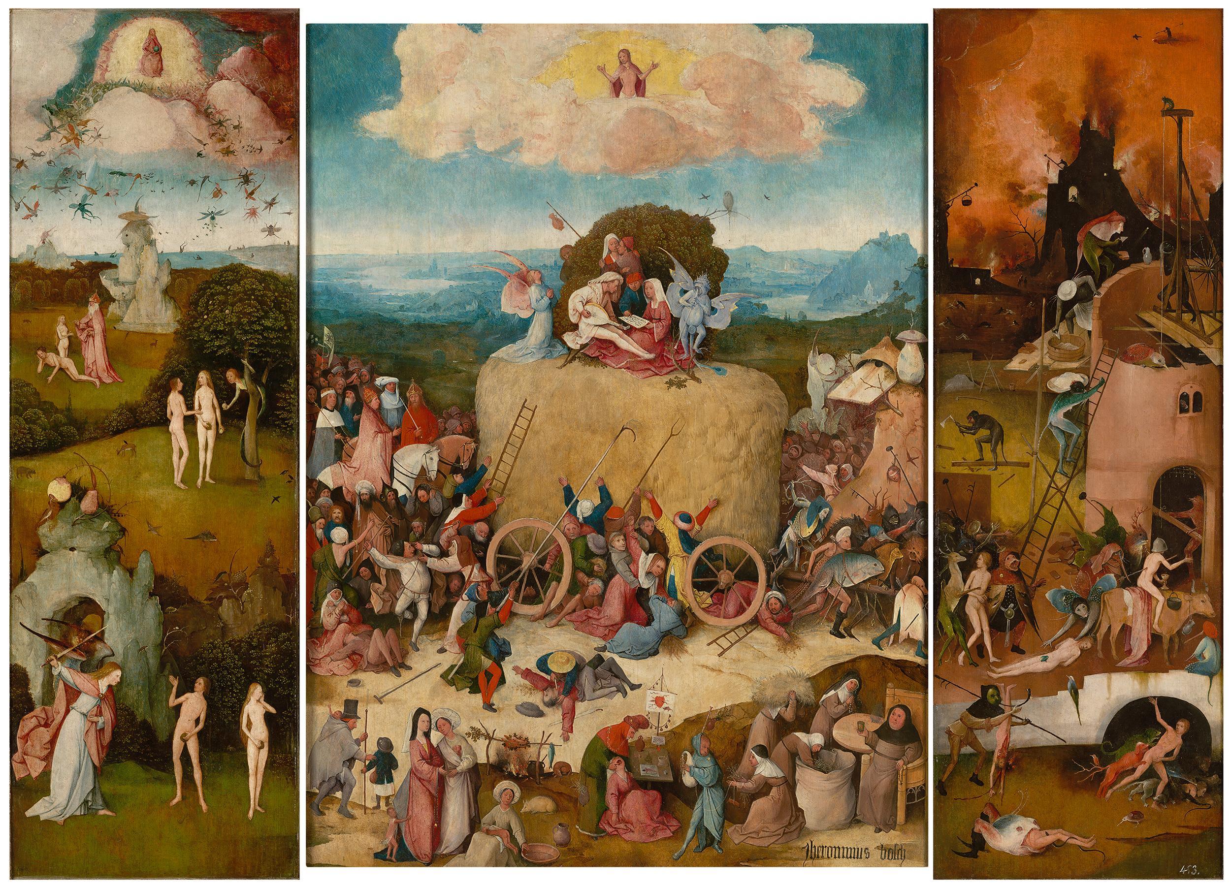 """Hieronymus Bosch: """"Der Heuwagen"""" von Hieronymus Bosch, um 1490"""
