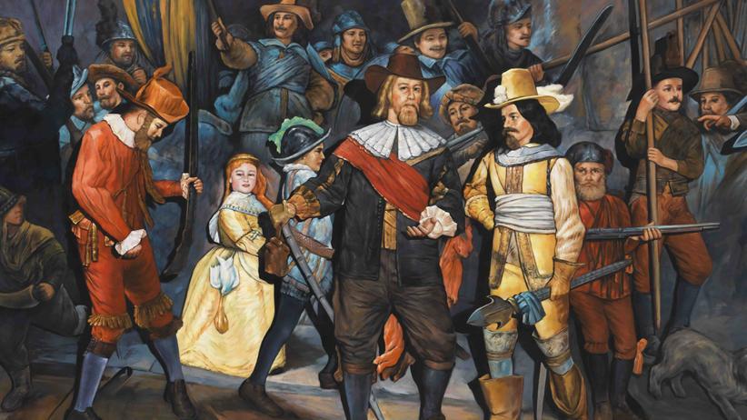 """Christian Jankowski: Die berühmte """"Nachtwache"""" von Rembrandt, einst in Öl, dann ein ausgeleuchtetes Foto im Netz, jetzt wieder ein Gemälde"""