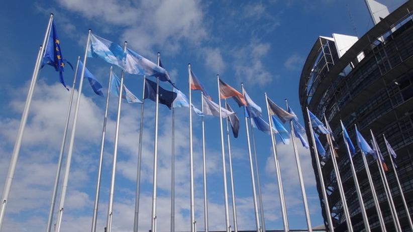 Yvonne Lee Schultz: Geteilter Himmel: die Himmelsflaggen von Yvonne Lee Schultz vor dem Europaparlament in Straßburg.