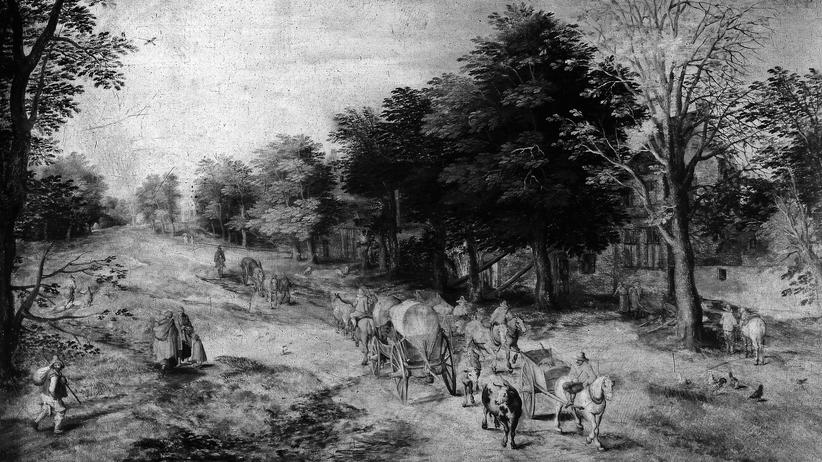 """Kunstdiebstahl in Gotha: Von den fünf Gemälden, die 1979 aus dem Schlossmuseum Gotha gestohlen wurden, existieren bislang nur alte Schwarz-Weiß-Aufnahmen. Diese zeigt das Bild """"Landstraße mit Bauernwagen und Kühen"""" von Jan Brueghel dem Älteren."""