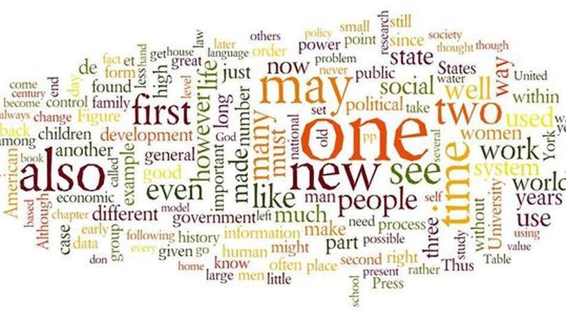 """Die Welt in Wörtern. Die Grafik zeigt die häufigsten Wörter in zeitgenössischen englischsprachigen Büchern. Je häufiger ein Weort vorkommt, desto größer ist es geschrieben. Die häufigsten Wörter wie """"the"""" und """"a"""" wurden ausgelassen"""