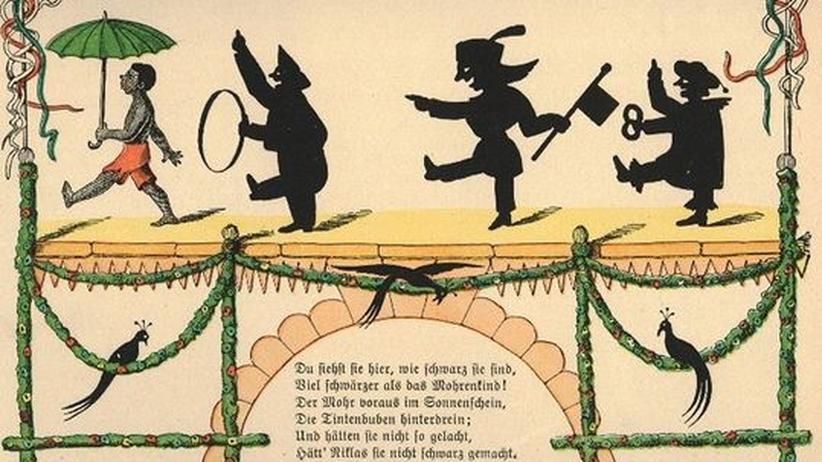 """Kinderbücher: Illustration zur """"Mohren""""-Geschichte aus dem """"Struwwelpeter"""" (Heinrich Hoffmann, 1858)"""