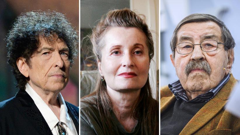 Literaturkritik: Die Literaturnobelpreisträger Bob Dylan, Elfriede Jelinek und Günter Grass (v.l.n.r.)