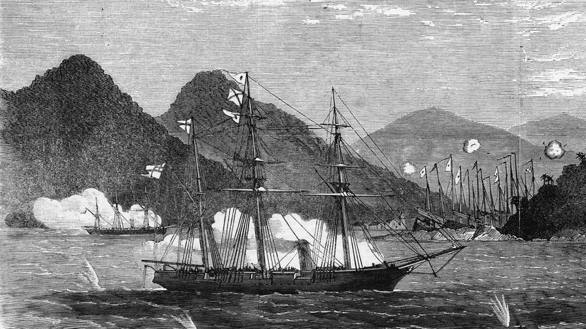 """""""Gott der Barbaren"""": Die Zeichnung einer Seeschlacht zwischen Briten und chinesischen Piraten, 1866"""