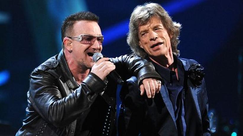 Musikbranche: Die Alten haben gut lachen: Bono und Mick Jagger gehören zu den wenigen Bands auf der Welt, deren Tourneen finanziell erfolgreich sind