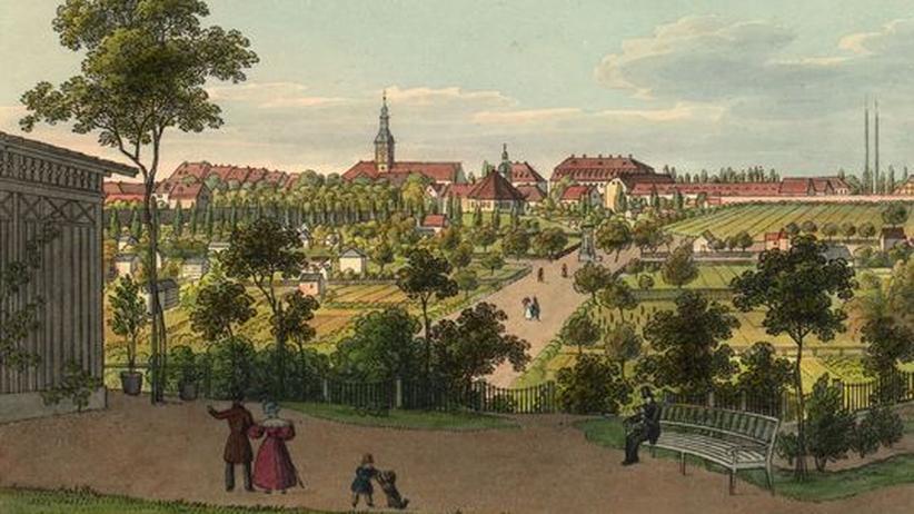 Musikstadt Leipzig: Die Musikstadt Leipzig auf einem Stich von J. C. A. Richter, um 1835