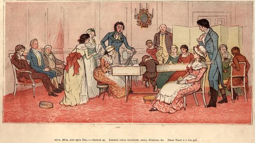Volkslieder: Das Volkslied hielt eroberte auch die Hausmusikzirkel. Hier ein historischer Stich von 1800