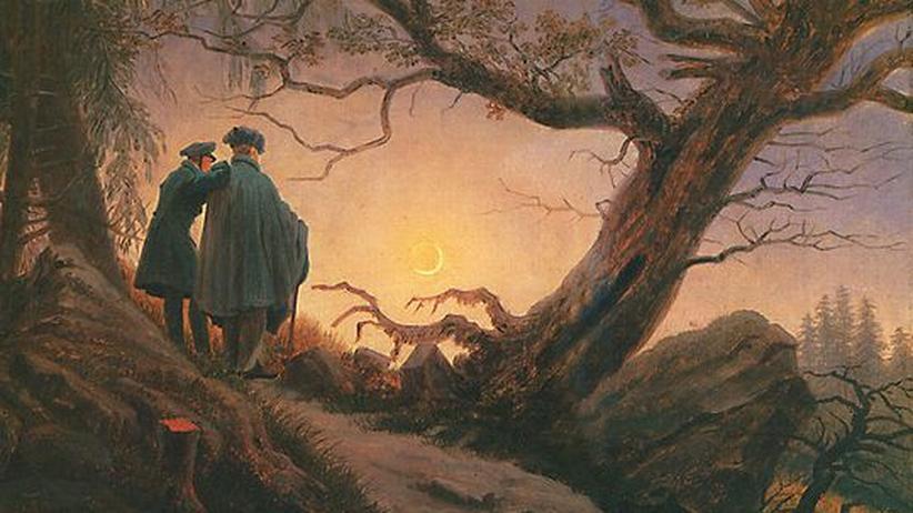 """Volkslieder-Boom: """"Zwei Männer in Betrachtung des Mondes"""" von Caspar David Friedrich, um 1830 entstanden"""